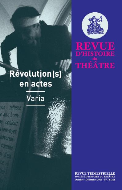 Revue d'Histoire du Théâtre No
