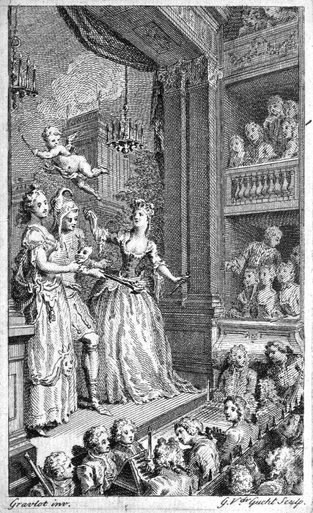 Hubert-François Bourguignon d'Anville, dit Gravelot (1799-1773), Allégorie du théâtre, gravure à l'eau forte en taille douce réalisée par Gérard Vander Gucht. Ashmolean Museum, Oxford, Douce Porfolio S.2