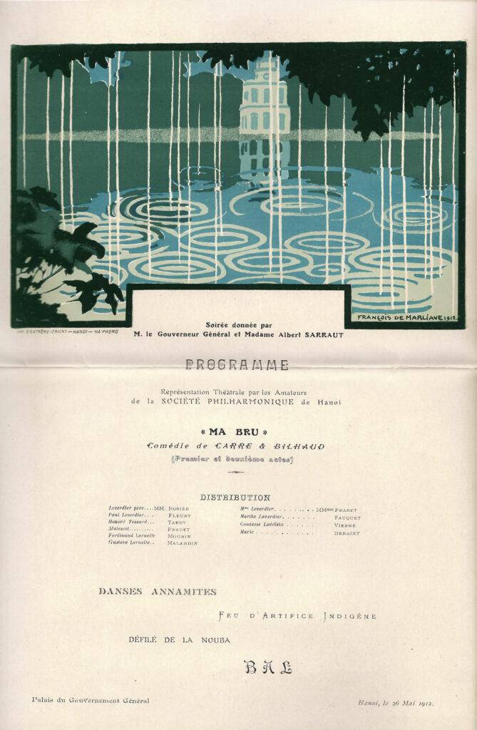 Soirée théâtrale privée au Palais du Gouvernement général de l'Indochine Mr Albert Sarraut, 26 mai 1912