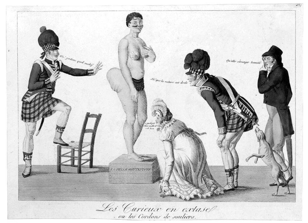 «Les Curieux en extase, ou les cordons de souliers». Gravure imprimée par Louis-François Charon, Paris, vers 1815.