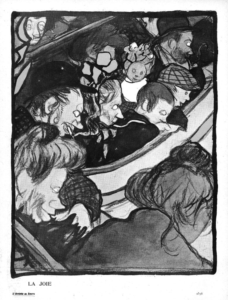 Géo Dupuis, « La joie », spectateurs, L'Asssiette au beurre, « La Hurle », 5 mars 1904 © Kharbine-Tapabor