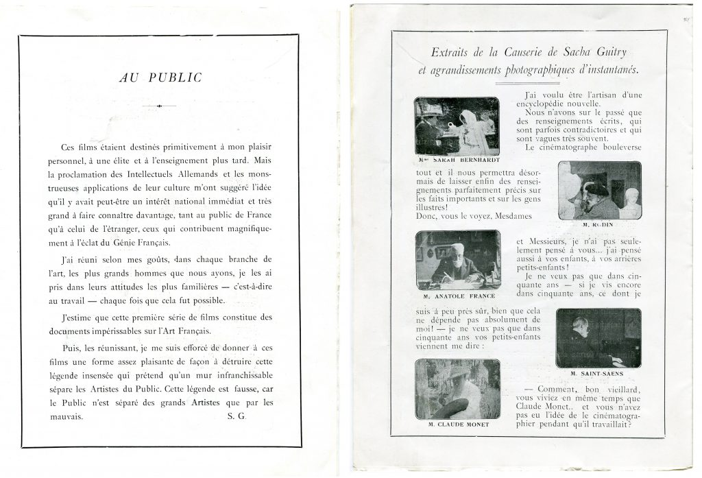 Programme du Théâtre du Palais-Royal pour le film de Sacha Guitry La Causerie, Paris, 16.5x22, 1916