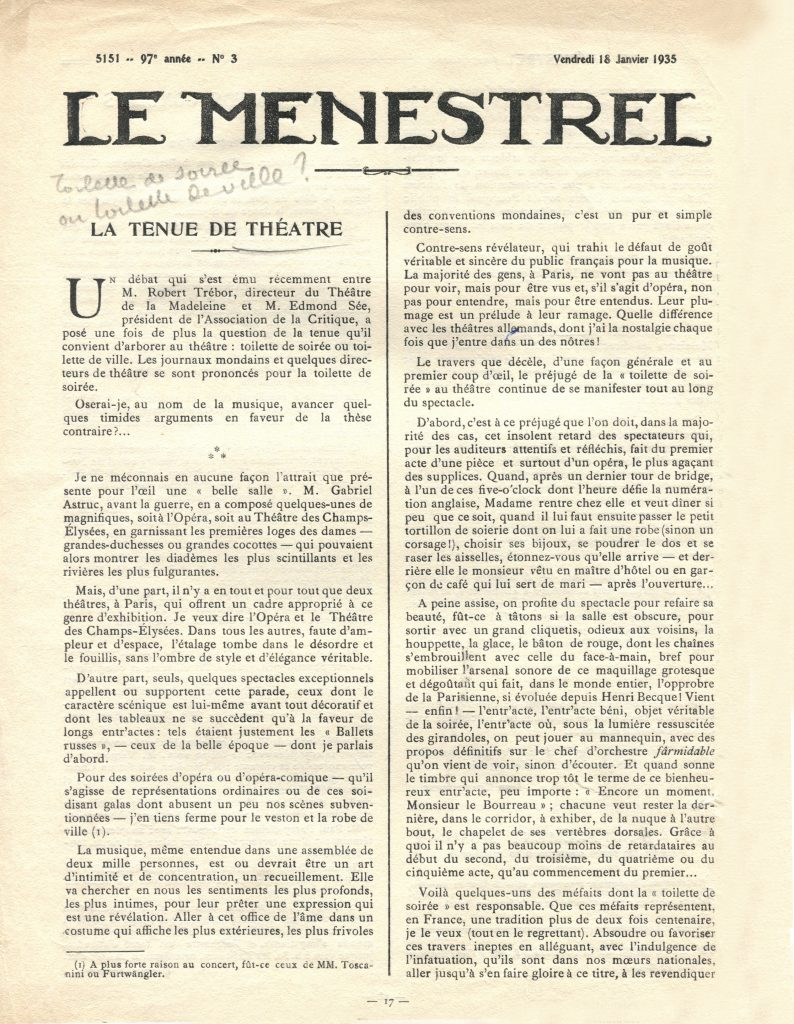 Archives documentation de presse, dossier costumes,  documentation diverse «  La tenue de théâtre ». Article dans Le Ménestrel, 5151, 97e année, N°3, Vendredi 18 janvier 1935.  Fonds de la Société d'Histoire du Théâtre, Boîte