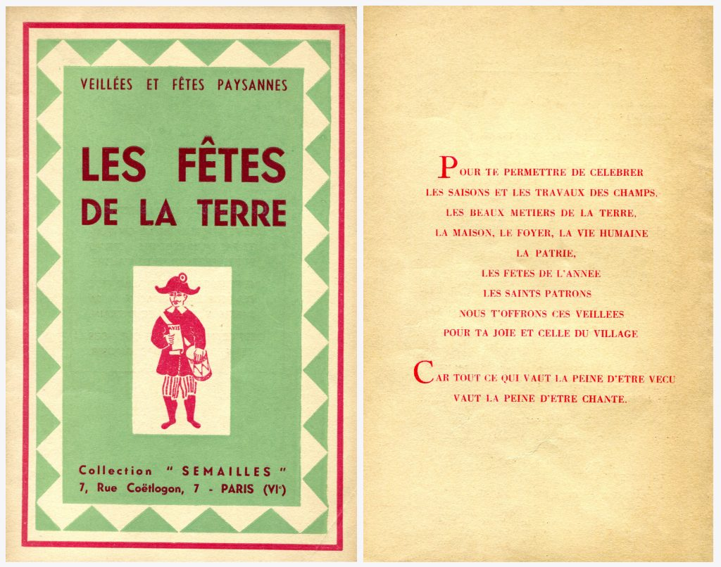Veillées et Fêtes paysannes, Les Fêtes de la Terre, d'après une expérience de Marcel Nouvellon, illustrations de Francis Boucrot, Paris, Collection Semailles, s.d.