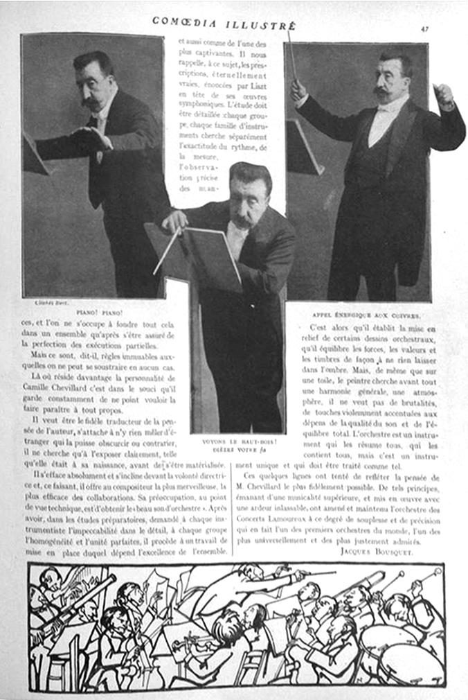 """Jacques Bousquet, """"Les Grands chefs d'orchestre. Camille Chevillard"""", Comoedia illustré, 1er février 1909, p. 46-47"""