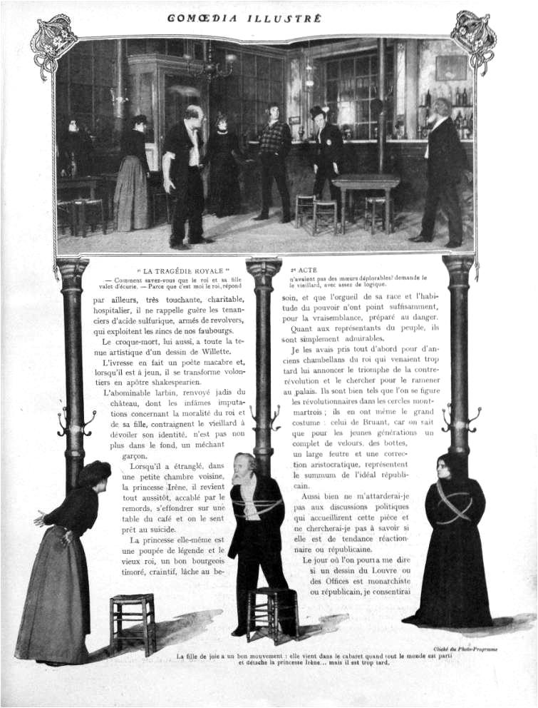 """Gaston de Pawlowski, """"la quinzaine théâtrale. La tragédie royale"""", Comoedia illustré, 1er février 1909"""