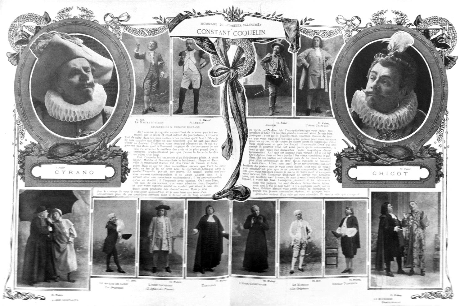 """""""À la mémoire de Constant Coquelin"""", Comoedia illustré, 1er février 1909, p. 4-5"""