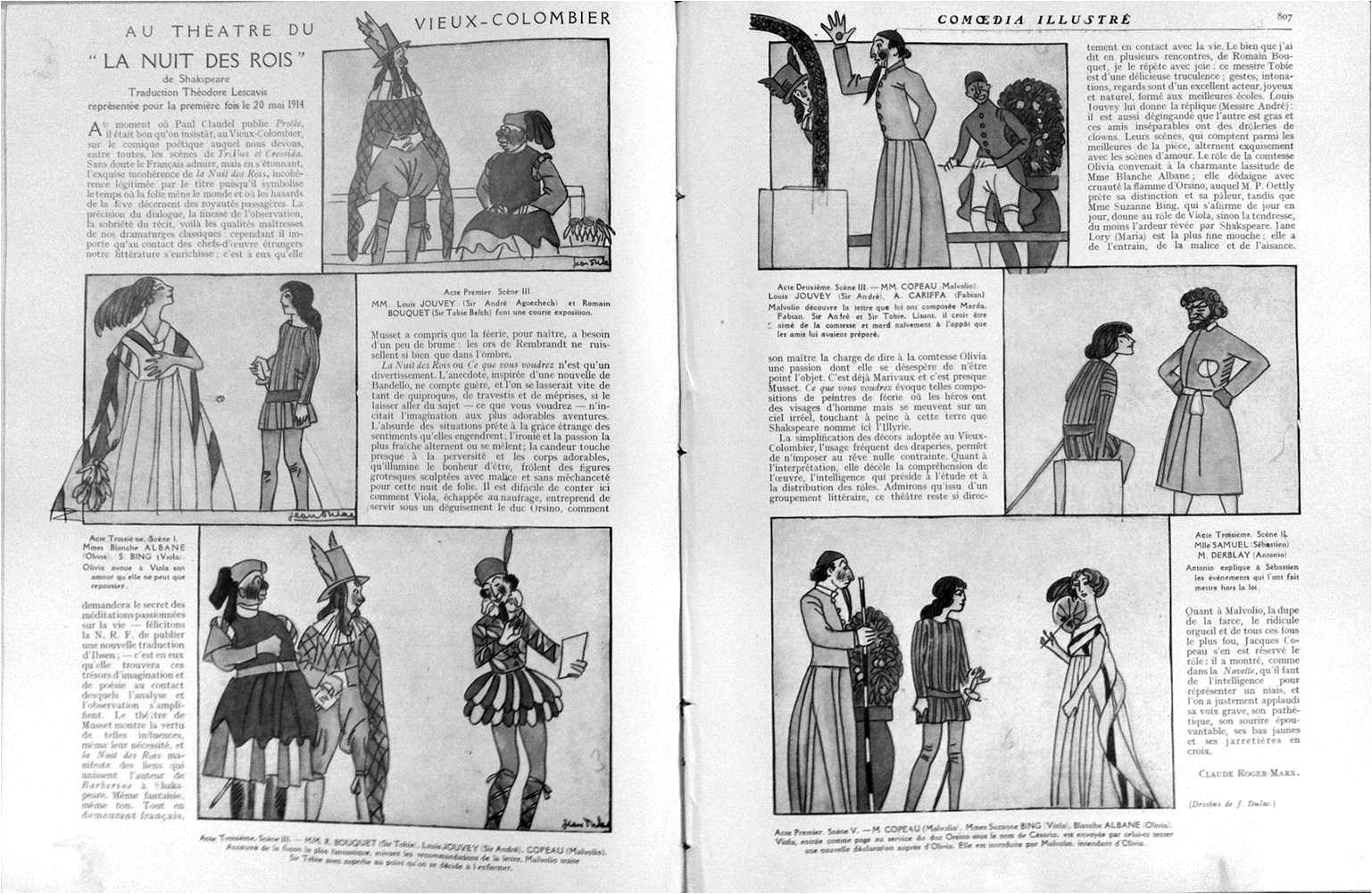 """Claude Roger-Marx, """"Au théatre du Vieux-Colombier, la nuit des rois"""", Comoedia illustré, 20 décembre 1913, 5 juin 1914, p. 806-807"""