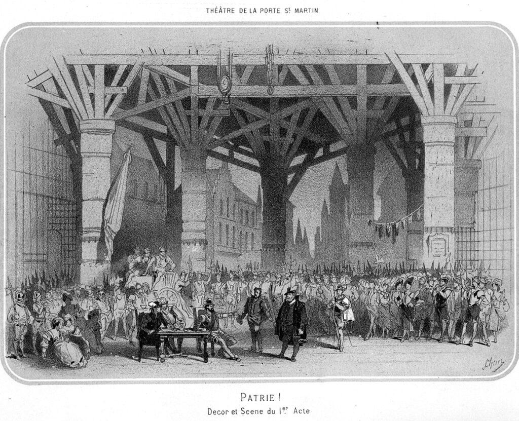 """Jules Chéret, """"Patrie, Décor et scène de l'acte I."""", Les Succès du jour, n°2, avril 1869. Collection particulière"""