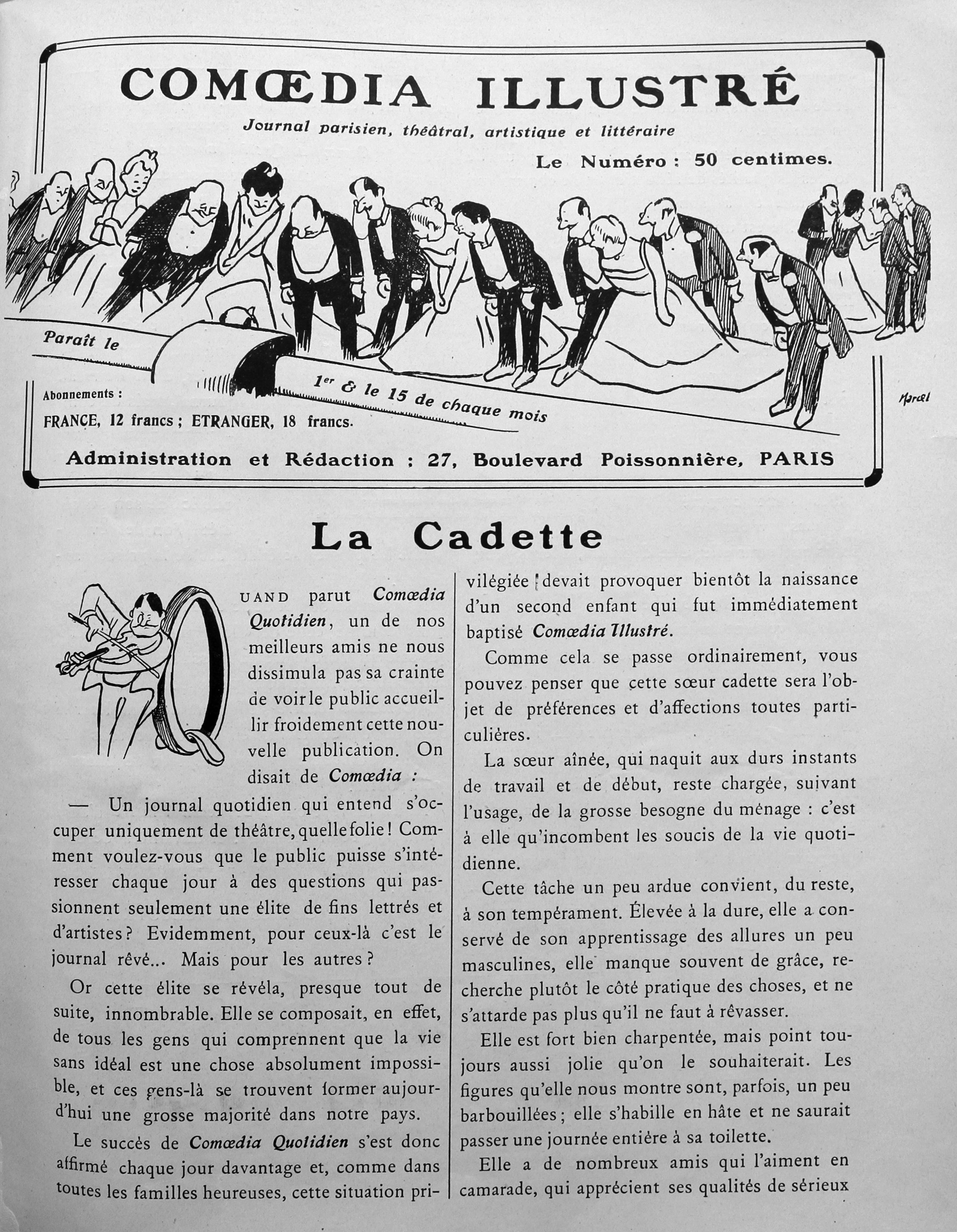 """""""La cadette"""", Comoedia illustré, 15 décembre 1908, p.1 et 2."""