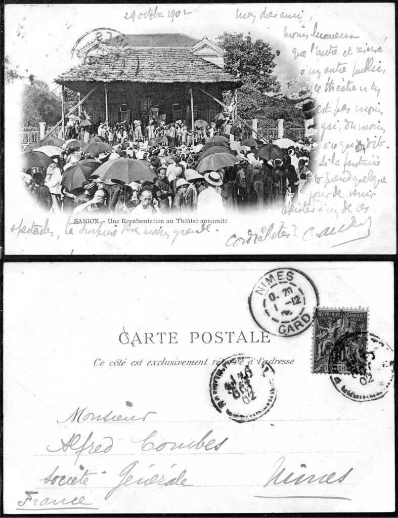 Carte postal de Saigon, 29 octobre 1902. Coll. part.