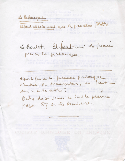 Notes et observations manuscrites de Léon Chancerel sur la mise en scène. [s.l.], [s.d.].