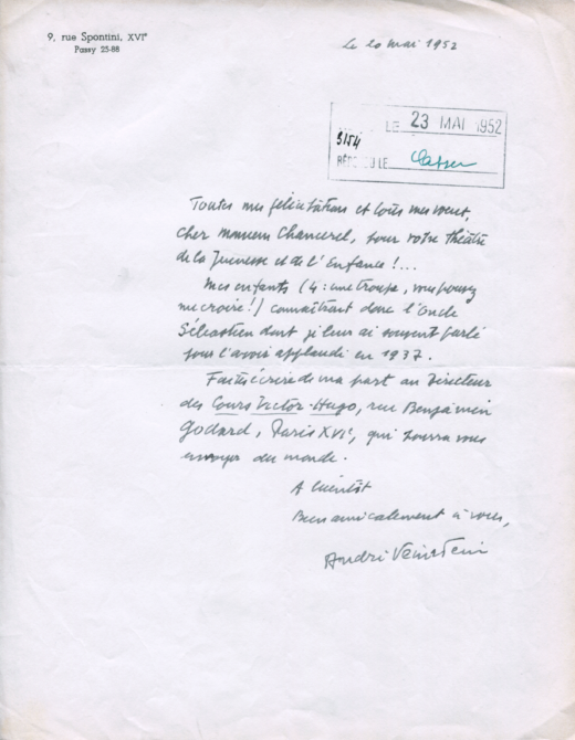 Lettre de la part d'André Veinstein à Léon Chancerel. Paris, 20 mai 1952.